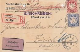 Bayern R-NN-Karte Mif Minr.56, 57 Augsburg 18.11.03 Gel. In Schweiz Seltene Verwendung - Bayern