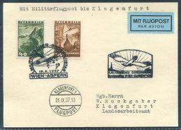 1937 Austria Wien Klagenfurt Aspern Airmail Luftpost Flugpost Parachute Postcard - Airmail