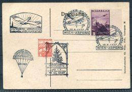 1937 Austria Wien  Aspern Airmail Luftpost Flugpost Parachute Postcard Christmas Tree Weihnachts - Airmail