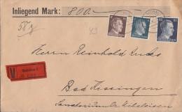 DR Wertbrief Mif Minr.783,787,798 Glauchau 12.8.42 - Briefe U. Dokumente
