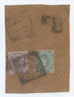 1889 UMBERTO C. 60 (USATO SCIOLTO E. 60) BEN DENTELLATO  + C. 5 FRAMMENTO ANNULLO TONDO RIQUADRATO FIRENZE RACC (A527) - Storia Postale