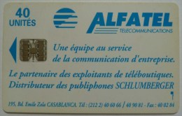MOROCCO - Schlumberger - Alfatel - Blank Back With Serial Number - Logo - 40 Units - Used - Rare - Morocco