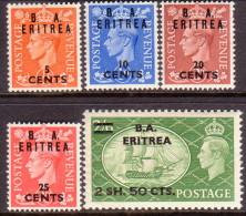 British Occupation Of Italian Colonies Eritrea (BA) 1951 SG #E26-30 Part Set To 2sh50c On 2sh6d MNH/MLH OG - Eritrée