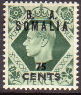 British Occupation Of Italian Colonies Somalia (BA) 1950 SG #S28 75c On 9d MH OG - Somalië