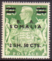 British Occupation Of Italian Colonies Somalia (BA) 1950 SG #S30 2sh50c On 2sh6d MH OG - Somalia