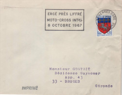 """Lettre Flamme Sport Moto-cross 35 Rennes Gare 12-9 1967 =o """" Ercé Près Liffré Moto-Cross Intal 8 Octobre 1967"""" - Moto"""
