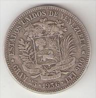 *venezuela 5 Bolivar 1936 High 3   Km 24.2 - Venezuela