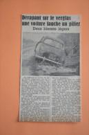 Coupure De Presse 1963 Accident Automobile RENAULT Dauphine Lapeyrouse - Documents Historiques