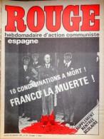 HEBDOMADAIRE ACTION COMMUNISTE- ROUGE-29-9-1975- N� 314- ESPAGNE - FRANCO LA MUERTE - PORTUGAL