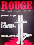 HEBDOMADAIRE ACTION COMMUNISTE- ROUGE-5-9-1975- N� 312- ESPAGNE FRANCO - GARMENDIA- OTAEGUI