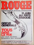 HEBDOMADAIRE ACTION COMMUNISTE- ROUGE-6-6-1975- N� 303- PAYS BASQUE- EVA FOREST GARMENDIA - CHILI