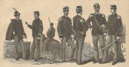 A3067 Esercito Italiano (Granatieri,Alpini) - Stampa Antica Del 1888 - Incisione - Prints & Engravings