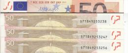 ITALIA ITALY 50 EURO 2002 DRAGHI SERIE S 71849253238 J092E5 UNC FDS 1/3 CONSECUTIVE - EURO