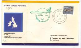 VOL270  - IRLANDA LUFTHANSA , Primo Volo Boeing 737 1972 Per Francoforte .  Timbro D'arrivo - Posta Aerea