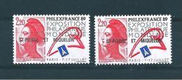Timbres De St Pierre Et Miquelon  De 1988  N°489 Et 489b ( O Sous Le I De Mondiale ) Neufs ** Parfait - St.Pierre & Miquelon