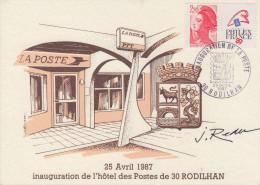 Carte  Inauguration  Hôtel Des  Postes  De   RODILHAN   (30)    1987 - Poste