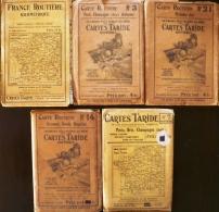 LOT 5 Anciennes Cartes TARIDE: N°3+7+ 14+21+france (voir Scans Et Description) - Cartes Routières