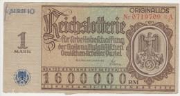 K GERMANY 1 Mark 1937 Lottery Ticket Originallos Serie 10 A Large Size VF - Billets De Loterie