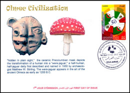 DZ 2015 - FDC - Olmec Civilization - Mexico Champignons Hallucinogenic Mushrooms Pilze Hongos Hallucinogens Drugs - Enveloppes