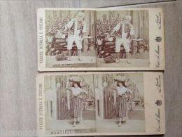 Dd721 - Lotto Di 2 Foto Stereoscopiche Di Napoli-costumi-fine 800 - Napoli