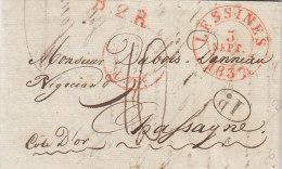 Belgique Cad Rouge LESSINES Lessen Sur Lettre Pour Chassagne Cote D'Or France 1837 (n41) - 1830-1849 (Belgio Indipendente)