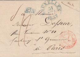 Belgique Cad Bleu BRUXELLES Sur Lettre Pour Paris France 1837 (n42) - 1830-1849 (Belgique Indépendante)