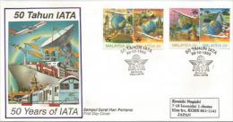 MALAISIE. International Air Transport Association (IATA) Cinquantenaire. Lettre FDC Adressée Au Japon, Année 1995 - Vliegtuigen