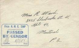 Canada 1944 HMC Ship Passed By Censor Unfranked Naval Cover - Brieven En Documenten
