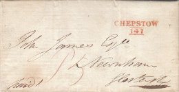 """Great Britain """"CHEPSTOW 141"""" Two-liner In Red On Letter To Glostershire 1814 (n54) - ...-1840 Precursori"""