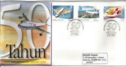 MALAISIE. Cinquantenaire De L'Aviation En Malaisie.  Lettre FDC  Adressée Au Japon - Vliegtuigen
