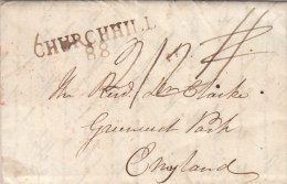 """Great Britain Ireland """"CHURCHILL 88"""" Two-liner On Letter To England 1820 (n55) - Gran Bretagna"""
