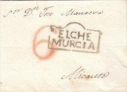 Spain Espana ELCHE MURCIA On Cover To Alicante 1830 (n59) - Spain