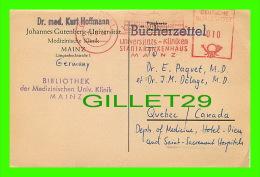 SANTÉ - DR. KURT HOFFMANN, JOHANNES GUTENBERG UNIVERSITAT - TRAVEL IN 1957 - SEGHR GEEHRTER HERR KOLLEGE - - Santé