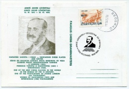 Jugoslavia CHESS 1995 Leventalj Postmark On Card - Ajedrez