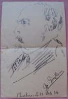 MENU GRAND CAFE DE LA BOURSE-CARICATURE MR GUILLAIN-CHARLEROI-23 SEPT 1934 - Menu