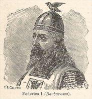 A6894 Federico I (Barbarossa) - Stampa Antica Del 1926 - Xilografia - Prints & Engravings