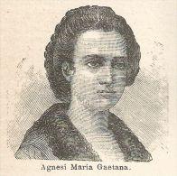 A6557 Agnesi Maria Gaetana - Stampa Antica Del 1924 - Xilografia - Prints & Engravings