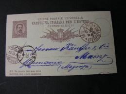 == Italy Card 1887 Milano Bahnhof Nach Mainz Transit Stempel Schweiz - Stamped Stationery