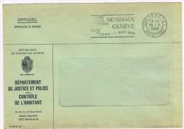 T4. Franchise = Justice Et Police. Contrôle De L´habitat. + Flamme: Patinage. Mondiaux Genève 16.1.68 - Politie En Rijkswacht