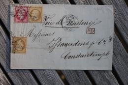 Lettre Pour Constantinople Affranchissement Type Napoléon Oblitération Paris Rue St-Lazare étoile 2 Voie De Kustendjé - Postmark Collection (Covers)