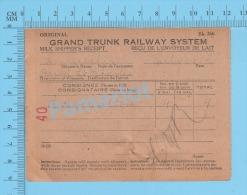 Grand Trunk Railway ( Milk Shipper's Receipt, Pointe Saint Charles, P. H. Walton, 4 X 8 Gal, Cir 1920 ) Quebec 2 SCANS - Documents Historiques