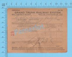 Grand Trunk Railway ( Milk Shipper´s Receipt, Saint Henri, L. Montgomery, 3 X 8 Gal, Cir 1920 ) Quebec 2 SCANS - Documents Historiques