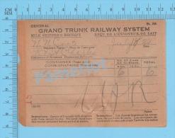 Grand Trunk Railway ( Milk Shipper's Receipt, Pointe St-Charles, H. Girard, 6 X 8 Gal, Cir 1920 ) Quebec 2 SCANS - Documents Historiques