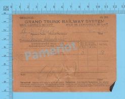 Grand Trunk Railway ( Milk Shipper's Receipt, St-Lambert, G. R. Norris, 3 X 8 Gal, Cir 1920 ) Quebec 2 SCANS - Documents Historiques