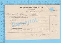 Recu Pout Taxes Scolaires ( Ville De St. Fortunat De Wolfstown En 1896 )  2 SCANS - Documenti Storici