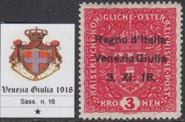 ITALY - VENEZIA GIULIA  N.16  Cat. 800 Euro - Con CERTIFICATO - Linguellato - MH* - 8. Occupazione 1a Guerra