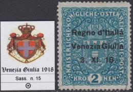 ITALY - VENEZIA GIULIA  N.15  Cat. 700 Euro - Con CERTIFICATO - Usato - Luxus Gestempelt - 8. Occupazione 1a Guerra