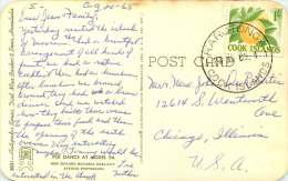 COOK IS. 1965 Postcard To USA   - Local Dancers - Stamp:  1/-   Oranges SG 169 - Cook Islands