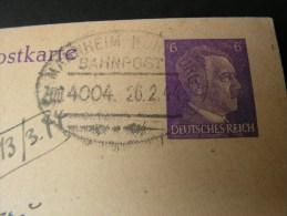 == DR Karte  Bahnpost  Mannheim 1944 - Allemagne