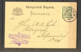 1894 BAVIERA - BAYERN, ENTERO POSTAL CIRCULADO DESDE MUNICH - MÜNCHEN - Bavière